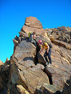 Descending the summit