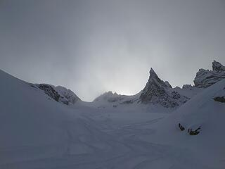 Lots of heli skier tracks above us